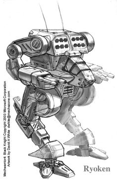This was the first chicken legged walker mech I ever drew. Seriously. I wasn't a big fan of the avian legged mechs but now I like them just fine. I guess it just took me a while to get comfort...