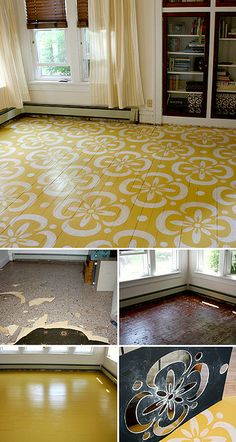 "Painted Sunroom, a transformational ""before and after"" by Lori Dunbar of Marzipan Inc.! After tearing up four layers of carpet, laminate tile and felt paper, wood floors were painted yellow and stenciled white. Jeep Renegade, Interior Paint Colors, Alaska"