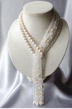 "Necklace-tie of pearl with rock crystal ""Waterfall"" Perlen Quaste Halskette mit Bergkristall Wasserfall Bead Jewellery, Pearl Jewelry, Beaded Jewelry, Jewelery, Handmade Jewelry, Beaded Necklace, Necklaces, Crystal Necklace, Collar Necklace"