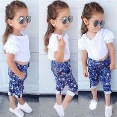 Hot Baby Girl Puff Sleeve Clothes Shirt Floral Pants 2Pcs Childrens Outfits Clothes Set