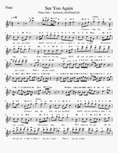Flute Cafe: See You Again Furious 7 (Flute Sheet Music) Clarinet Sheet Music, Easy Piano Sheet Music, Music Chords, Violin Music, Music Sheets, Sheet Music Direct, Digital Sheet Music, Music Score, Piano Noten
