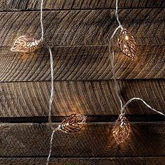 Guirlande Lumineuse LED avec 20 Feuilles en Métal Cuivré pour Intérieur par Lights4fun