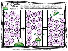Frog Addition Maker - an addition board game from Addition Board Games with Bees, Bugs and Friends by Games 4 Learning - 27 Printable Addition board games. $