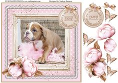 Cuteness in pink by Nadege Burness A cute design for birthdays  . Sentiment plus embellishments included as well as decoupage .