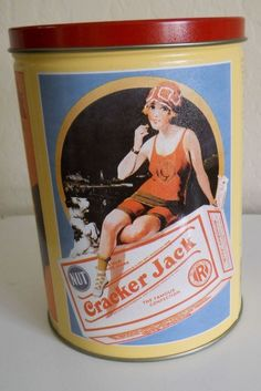 1991 CRACKER JACK LIMITED EDITION COLLECTOR TIN CAN WITH 3 VINTAGE SCENES #CrackerJack: One more tin for my growing collection.  This tin is not very old, but it looks vintage with its Babe Ruth, Cracker Jack kid and 1920s gal scenes.