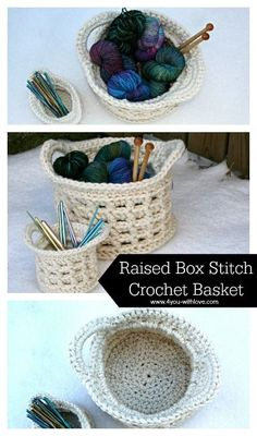 Yarn baskets are really popular nowadays - they use up yarn and can store yarn.  Check out this box stitch basket pattern by @4youwithlove made with Lion Brand's Wool-Ease Thick & Quick.