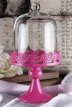 Cake Stand Hot Pink Pedestal 11in with Glass Dome Cover