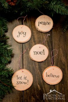 Make your own wood slice Christmas ornaments! Use a fallen tree branch from the neighborhood, or wood slice coasters from a craft store! Noel Christmas, Diy Christmas Ornaments, Rustic Christmas, Christmas Projects, Winter Christmas, Holiday Crafts, Handmade Christmas, Diy Christmas Tree Decorations, Christmas Coasters