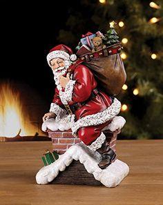 Santa Claus Climbing Down Chimney with Presents Resin Stoneware Christmas Decoration Figurine. #SantaClaus #Santa #Claus #Christmas  #Figurine #Decor #Gift #gosstudio .★ We recommend Gift Shop: http://www.zazzle.com/vintagestylestudio ★