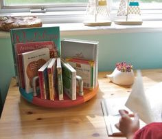 Happiness Crafty: PVC PIPE PROJECTS {18 ideas} Lazy susan as book caddy