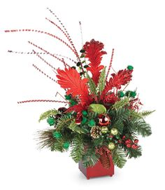 Funky Red and Lime Christmas arrangement