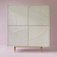 British designer Bethan Gray has updated the ornate cabinet series she launched last year with different colours and patterns. Each piece combines vibrantly stained wood and brass marquetry.