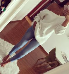#winter #outfits White Off Shoulder Knit // Bleached Skinny Jeans