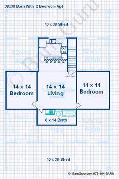 2 Bedroom Apt Horse barn | Floor Plans | Pinterest | Horse barns ...