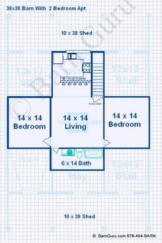 2 Bedroom Apartment above 3 stall horse barn plan_ Barn Builder In Ga