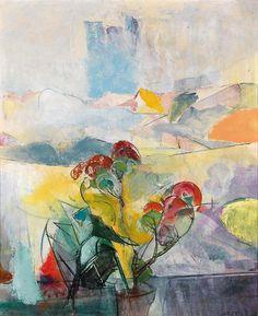 Anton Mahringer (Austrian, 1902–1974), Blumen vor Landschaft, 1961. Oil on hardboard, 73 x 60 cm. Anton, Abstract Art, Painting, Exhibitions, Landscapes, Window, Artists, Abstract, Marque Page