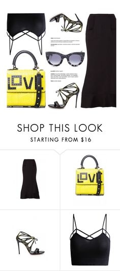 """""""Love Bag"""" by firstboutique ❤ liked on Polyvore featuring Les Petits Joueurs, Thierry Lasry, yellow and black"""