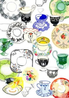 This is a colorful cup and saucer illustration by Hennie Haworth. Tee Kunst, Food Illustrations, Cool Drawings, Graphic Illustration, Tea Time, Coffee Time, Illustrators, Pattern Design, Tea Cups