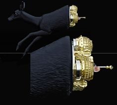 A deer sculpture carries an ornamented golden cabinet in its body