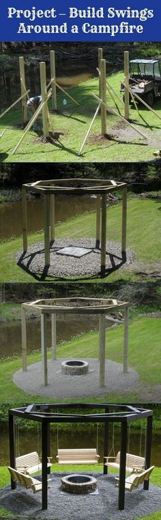 It's a relatively easy project. You start by building a hexagonal shape to hang the swings from. If you...