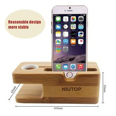 Amazon.com: Apple Watch Stand, iPhone Holder Stand, Multifunctional Natural Bamboo Wood Charge Station Charging Dock Cradle Stand Holder for Apple Watch iWatch 42mm & 38mm and iPhone 6 iPhone 6 Plus 5 / 5S / 5C / 4S: Cell Phones & Accessories