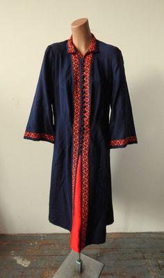 Vintage 1940s Navy Wool Coat Dress  Unusual Cross by VintageZipper