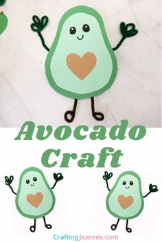 This cute avocado craft is so much fun. Grownups and kids will both have a blast making it. The step-by-step instructions and free craft template will make it a breeze. This avocado is a perfect Pre-K, preschool, or kindergarden craft. It's a fun food craft everyone will enjoy. And the heart shaped seed makes it a Valentine's Day craft as well! #CraftingJeannie #preschoolcraft #foodcraft #kidscrafts #valentinesdaycraft Toddler Art Projects, Valentine's Day Crafts For Kids, Toddler Crafts, Art For Kids, Diy Projects, Preschool Food Crafts, Classroom Crafts, Preschool Activities, Boy Scout Crafts