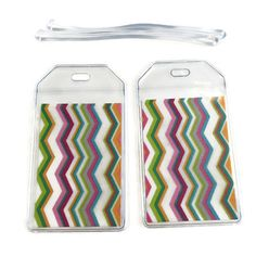 Luggage Tags Set of 2 Summer Chevron by BostonLinz on Etsy