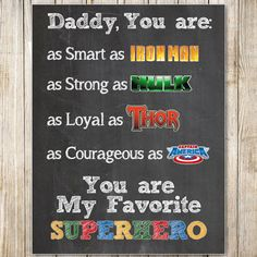 Father's Day Superhero  8x10 Chalkboard by MasonsMommyDesigns, $8.00