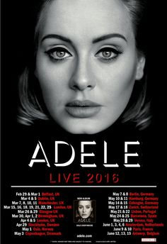 ADELE 2016  Concert Poster UK  Europe tour