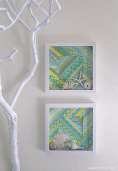 Are you a fan of washi tape and wall art? The two come together in these 15 inspirational washi tape wall art project ideas! Tape Wall Art, Washi Tape Wall, Washi Tape Cards, Washi Tapes, Masking Tape, Shadow Box Kunst, Shadow Box Art, Decoracion Low Cost, Decoracion Vintage Chic