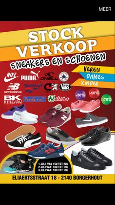 Stockverkoop schoenen en sneakers -- Borgerhout -- 01/07-03/07
