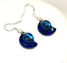 Sea snail Swarovski earrings, sterling silver, Bermuda blue earrings, Blue Swarovski sea snail, Ocean jewelry, Swarovski set, ocean earrings