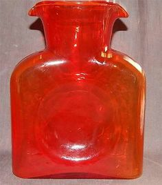 Vintage Blenko Ruby Red Art Glass Double Spout Water Bottle Pitcher Carafe