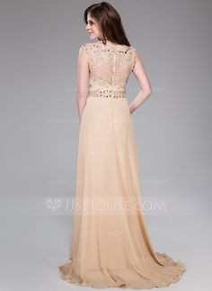 A-Line/Princess Scoop Neck Sweep Train Chiffon Lace Evening Dress With Ruffle Beading Sequins (017041158) - JJsHouse