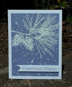Embossed Christmas Card using Ornamental Pine from Stampin' Up!
