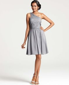 Ann Taylor - Weddings: Bridesmaid Dresses, Bridal Gowns, Shoes, Accessories: ANN TAYLOR - Petite Silk Georgette One Shoulder Dress