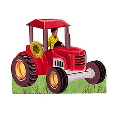 Farm Tractor All of your guests will want to play farmer when they see this fun one sided cardboard tractor! The 4' wide x 5' wide farm tractor is perfect for pictures with its cab cutouts.