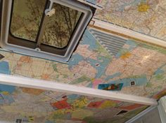 """Mod Podge your pop up camper ceiling with old maps.""""better Yet use Vacation pictures with map scrapbook bacgrounds..what a great idea!!"""""""