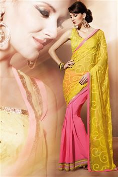 Mesmerizing Georgette Pink,Yellow Designer party wear saree with blouse