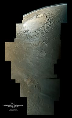 Stunning View of Mars: Viking Orbiter 1 mosaic of the region from Argyre Planitia to Thaumasia Fossae. Mosaic is made from 36 filtered (violet, red filter) images.
