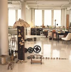 Tawney's New York loft, as seen in 1994, was a room-scale collage, filled with her spatial arrangements of objects, and serving as her studio, gallery, meditation sanctuary and home. ;   Photo/William Seitz.