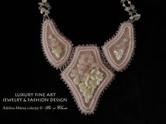 Couture Embroidery, Embroidery Jewelry, Beaded Embroidery, Hand Embroidery, Crystal Jewelry, Crystal Beads, Beaded Jewelry, Jewelry Necklaces, Crystals