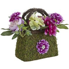 Pier 1 Imports Faux Floral Arrangement In Handbag ($30) ❤ liked on Polyvore featuring home, home decor, floral decor, artificial silk flowers, spring home decor, colorful home decor, artificial flowers and handmade home decor