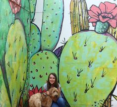 Dallas Mural Guide: Most Insta-Worthy Dallas Mural - Murales Pared Exterior Art Therapy Projects, Cactus Painting, Fence Art, Mural Wall Art, Painting Inspiration, Dallas, Street Art, Abstract, Wallpaper