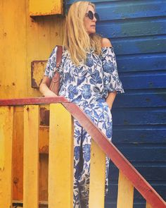 blue and white jumpsuit, my favourite summer buy Blue And White Jumpsuits, Wrap Dress, Summer, Dresses, Fashion, Vestidos, Moda, Summer Time, Fashion Styles