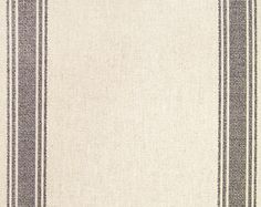 Postal Print Stripe Upholstery Fabric Neutral  linen upholstery fabric with Charcoal stripe. Suitable for Domestic Upholstery, Curtains and Soft Furnishings.