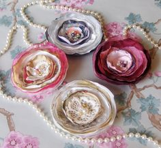 Shabby Chic Corsage Wine Gold Gray Vintage Lace by talulahblue, £10.00