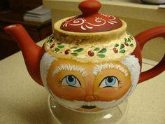 ceramic tea pot Santa