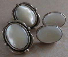 Vintage Sterling Silver MOP Mother of Pearl Earrings ~ #Vintage #Jewelry #MOP #MotherofPearl #Fashion #Style #Beauty #Etsy #Design #VintageJewelry by StarliteVintageGems, $32.00
